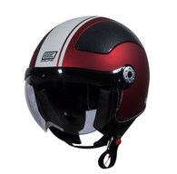 Origine Pilota Jet-Style 3/4 Motorcycle Helmet in Flat Red/White Stripe