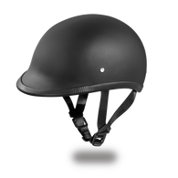 Daytona Hawk DOT Helmet in Flat Black - Left Side with straps