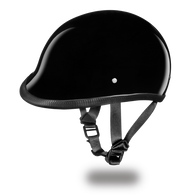 Daytona Hawk DOT Helmet in Gloss Black - Left Side with straps