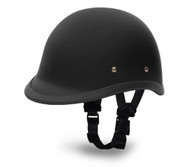 Daytona Hawk Novelty Helmet in Flat Black - Left Side with straps
