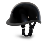Daytona Hawk Novelty Helmet in Gloss Black - Left Side with straps