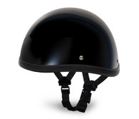 Gloss Black Daytona Smokey Novelty Helmet - Left Side with straps