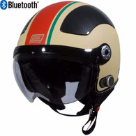 Origine Pilota Jet-Style 3/4 Motorcyle Helmet with Blinc Bluetooth in Flat Cream/Red Stripe