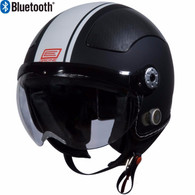 Origine Pilota Jet-Style 3/4 Motorcyle Helmet with Blinc Bluetooth in Flat Black/White Stripe