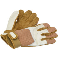 Biltwell Bantam Riding Gloves in White and Tan - Pair