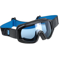 Biltwell Overland Motorcycle Goggles in Black/Blue with Blue Lens - Front Right