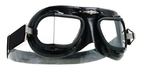Halcyon Mark 9 Racing Aviator Motorcycle Goggle in Black