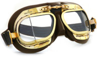 Halcyon Mark 9 Antique/Unpolished Aviator Motorcycle Goggle in Brown