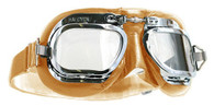 Halcyon Mark 410 Deluxe Aviator Motorcycle Goggle with Tan Leather