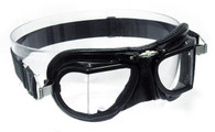 Halcyon Compact 49 Racing Aviator Motorcycle Goggle with Black Leather Trim