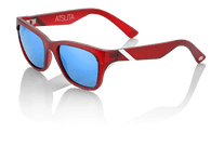 100% Atsuta Sunglasses in Basin Red with Blue Mirror Lenses - Angle
