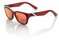 100% Atsuta Sunglasses with Burgundy frames and Orange Mirrored lenses - Angle