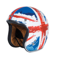 "Torc T-50 DOT 3/4 Helmet with ""Kingdom"" Union-Jack British flag design"