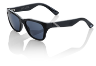 100% Atsuta Sunglasses with Gloss Black frames and Smoke Grey lenses - Angle