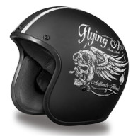Daytona Cruiser 3/4 Open Face D.O.T. Helmet in Flat Black with Flying Aces Artwork - No Visor
