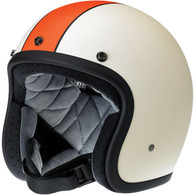 Biltwell Bonanza LE Racer DOT Motorcycle Helmet in Flat Cream/Orange Finish - Front Left