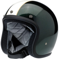 Biltwell Bonanza LE Racer DOT Motorcycle Helmet in Gloss Green/Cream Finish - Front Left