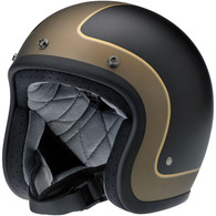 Biltwell Bonanza LE Tracker DOT Motorcycle Helmet in Flat Black/Grey/Gold - Front Left