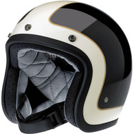 Biltwell Bonanza LE Tracker DOT Motorcycle Helmet in Gloss Black with Vintage White trim - Front Left
