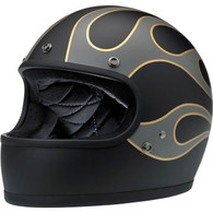 Biltwell Gringo Limited Edition Motorcycle Helmet in Flat Black with Grey and Gold Flames - Front Left