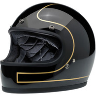 Biltwell Limited Edition Gringo Helmet in Black with Tracker design in Gold trim - Front Left