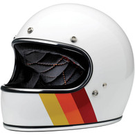 Biltwell Limited Edition Gringo Helmet in Gloss White with Tri-Stripe design - Front Left