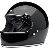 Biltwell Gringo Full Face Helmet in Gloss Black with Chrome Trim - Front Left