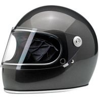 Biltwell Gringo-S Full Face Motorcycle Helmet in Gloss Metallic Charcoal - Front Left