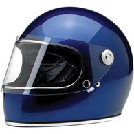 Biltwell Gringo-S Full Face Motorcycle Helmet in Gloss Metallic Navy Blue - Front Left