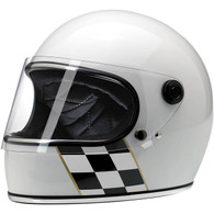 Biltwell Gringo-S LE Full Face helmet with visor in White with Checker Stripe - Front Left