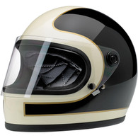 Biltwell Gringo-S LE Full Face helmet with visor in Tracker Black/Vintage White design - Front Left
