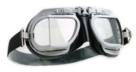 Halcyon Mark 8 Rider Aviator Motorcycle Goggle in Black with Silver Powdercoated Frames