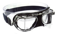Halcyon Compact 49 Deluxe Aviator Motorcycle Goggle in Black Leather with Chrome