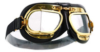 Halcyon Mark 49 Antique Aviator Motorcyle Goggle with Polished Brass and Black Leather