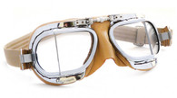 Halcyon Compact 49 Aviator Motorcycle Goggle in Tan Leather with Chrome Frames - Front