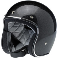 Biltwell Bonanza DOT 3/4 Motorcycle Helmet in Midnight Black Miniflake - Front Left Angle