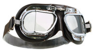 Halcyon Mark 49 Deluxe Aviator Motorcycle Goggle with Brown Leather Trim