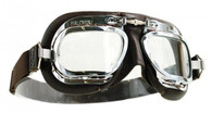 Halcyon Mark 410 Deluxe Aviator Motorcycle Goggle with Brown Leather