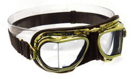 Halcyon Compact 49 Antique Aviator Motorcycle Goggle in Brown Leather with Polished Brass Frames
