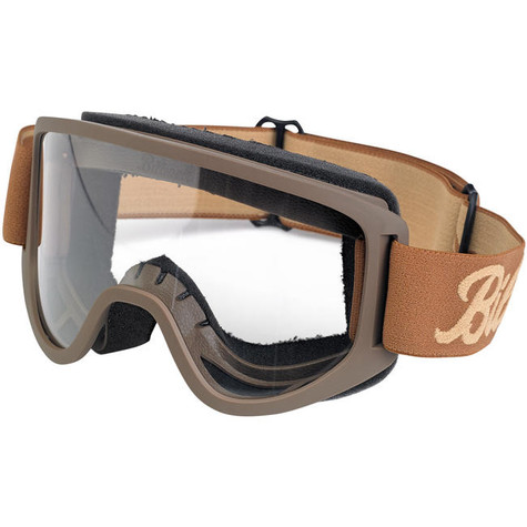 Biltwell Moto 2.0 Motorcycle Goggle in Script Chocolate Design - Front