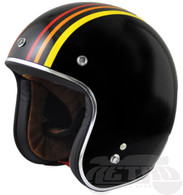"Torc DOT 3/4 Motorcycle Helmet in ""1978"" Black Finish with Old-School Stripes - Front Left"