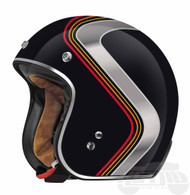 Torc DOT 3/4 Motorcycle Helmet in Black with Luminous Stripe