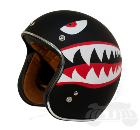Torc DOT 3/4 Motorcycle Helmet with Flying Tiger paint scheme - Left Front