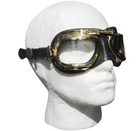 Halcyon Retro Aviator Motorcycle Goggle in Black Leather with Natural Brass Frames