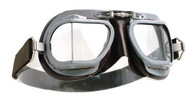 Halcyon Compact 9 Superjet Aviator Motorcycle Goggle in Brown - Front