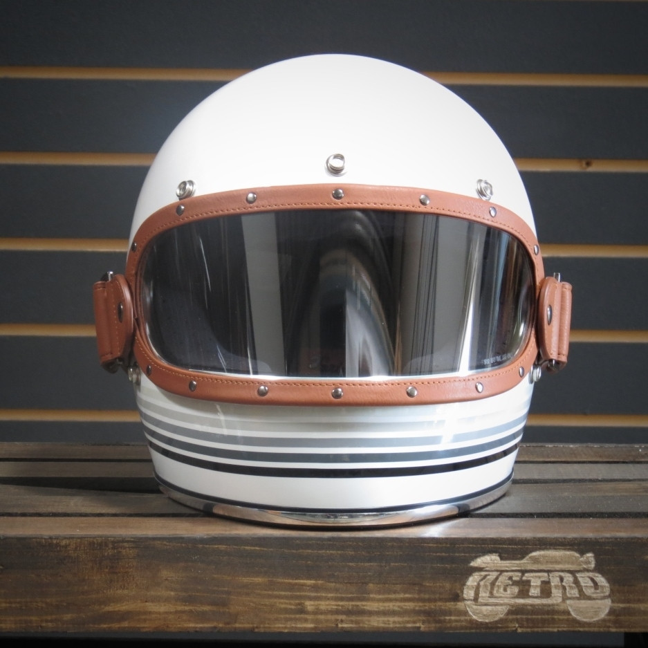 Equilibrialist Knox Maska visor in Tan/Clear on Spectrum White Biltwell Gringo