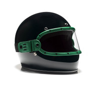 Equilibrialist Knox Maska Visor for Biltwell Gringo Helmets - Hunter Green Trim with Clear Lens