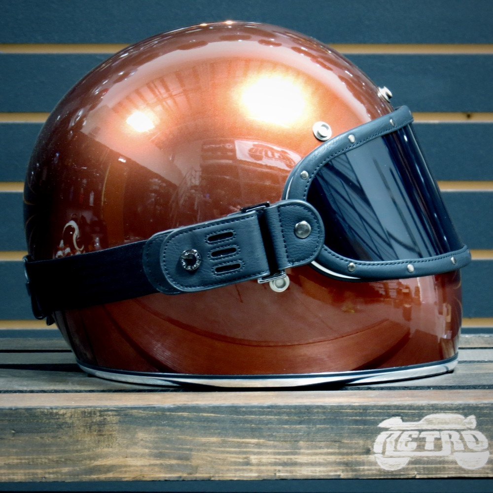 Equilibrialist Knox Maska in Black/Tinted on Bourbon Metallic Biltwell Gringo Helmet