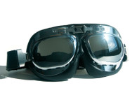 Large Aviator Goggles in Black/Chrome with Mirrored Reflective Lenses - Front View
