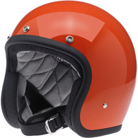 Biltwell Bonanza 3/4 DOT-Approved Motorcycle Helmet in Gloss Hazard Orange - Left Overview